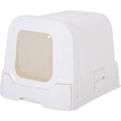 Maison de toilette pour chat tiroir à litière coulissant porte battante filtre odeur + pelle fournis 54L x 42l x 41H cm blanc