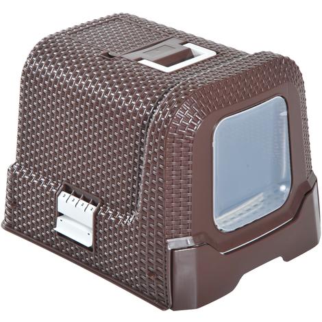 Maison de toilette pour chat tiroir à litière coulissant porte battante filtre odeur + pelle fournis 54L x 42l x 41H cm chocolat