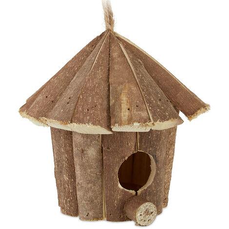 Maison d'oiseau déco, à suspendre, bois non traité, rustique, balcon, jardin, maisonnette, 16x16x16 cm, nature