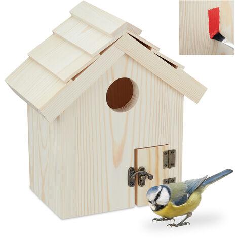 Maison d'oiseaux à poser, Nid en bois de mésanges, nichoir décoratif à peindre, 25x23x14 cm, nature