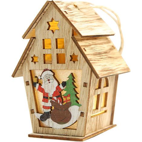 Maison En Bois De Noel, Avec Lumiere Led, Ornements Suspendus Pour Arbre De Noel, L