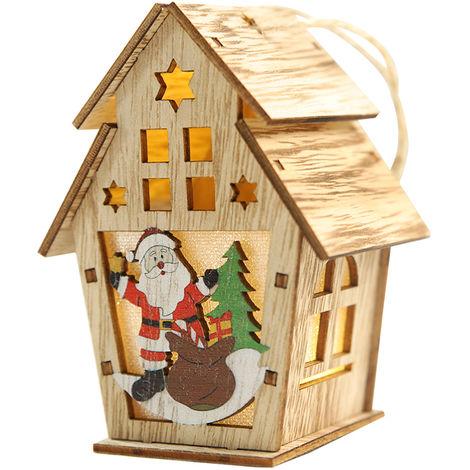 Maison En Bois De Noel, Avec Lumiere Led, Ornements Suspendus Pour Arbre De Noel, S