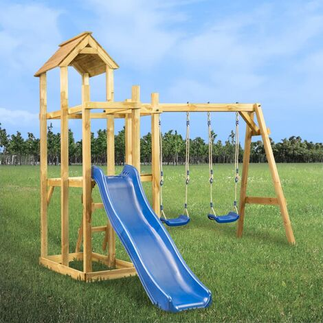 Maison et toboggan échelles balançoire 285x305x226,5 cm