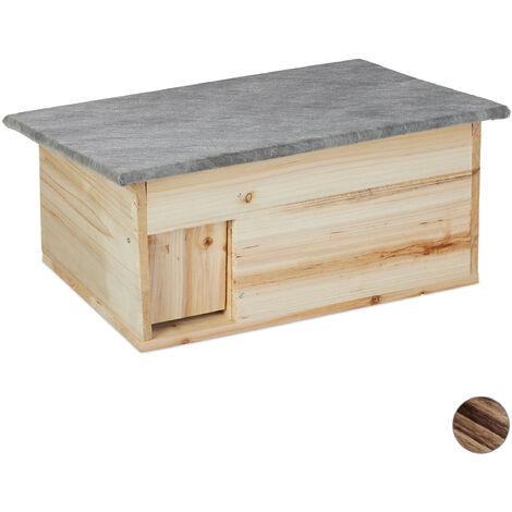 Maison hérisson résistant à l'hiver, montage, à l'abri des chats,entrée de labyrinthe, HlP 21x46x34 cm, bois