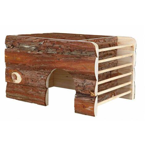 Maison ila 2 sorties/râtelier, en bois d'écorce - 40 × 25 × 29 cm