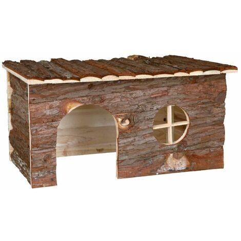 Maison jerrik, lapin, en bois d'écorce - 50 × 25 × 33 cm