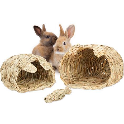 Maison lapin, Lot de 3 pièces, jouet à rongeur, accessoires pour petits animaux, 2 tailles, nature