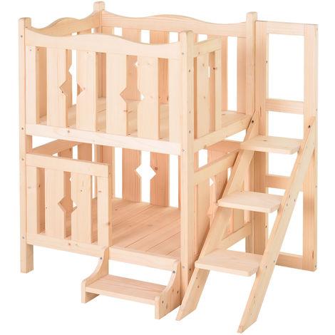 Maison lodge - niche avec terrasse et escalier pour chien chat - dim. 82L x 46l x 86H cm - bois massif de pin