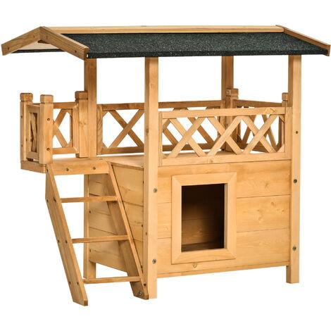 Maison lodge - niche villa avec terrasse, escalier, toit pour chien chat - dim. 77L x 50l x 73H cm - bois massif de pin pré-huilé