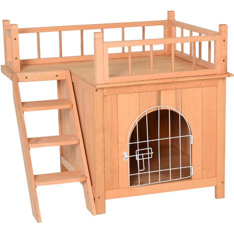 Maison lodge - niche villa avec terrasse et escalier pour chien chat - dim. 73L x 55l x 65H cm - bois massif de pin pré-huilé