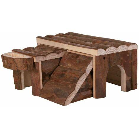 Maison luka, hamster, en bois d'écorce - 14 × 7 × 14 cm