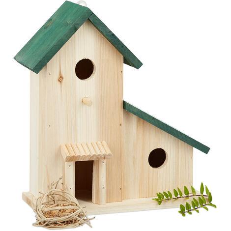 Maison Oiseaux Nichoir Mangeoire Refuge Vert En Bois Terrasse