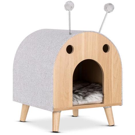 Maison pour chat avec jouet, design moderne, meubles pour chat, niche pour chats en bois, lit pour chat, grotte pour chat, maison pour chat avec coussin amovible