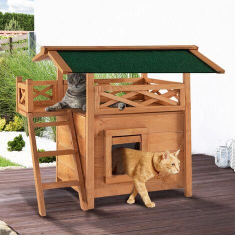 Maison pour chat lodge en bois avec accès terrasse