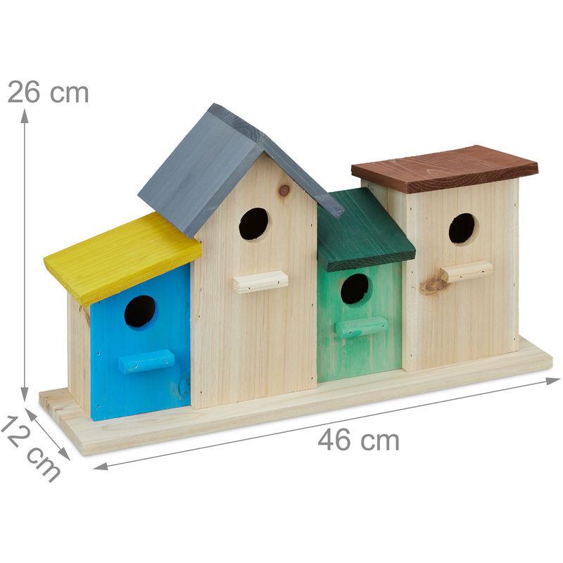 Maison Pour Oiseaux Nichoirs Mangeoire Refuge Decoratif Socle Bois Hxlxp 26 X 46 X 12 5 Cm Colore