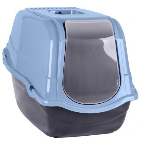 Maison pour toilette chat - L 55 x l 40 x H 40 cm - Bleu