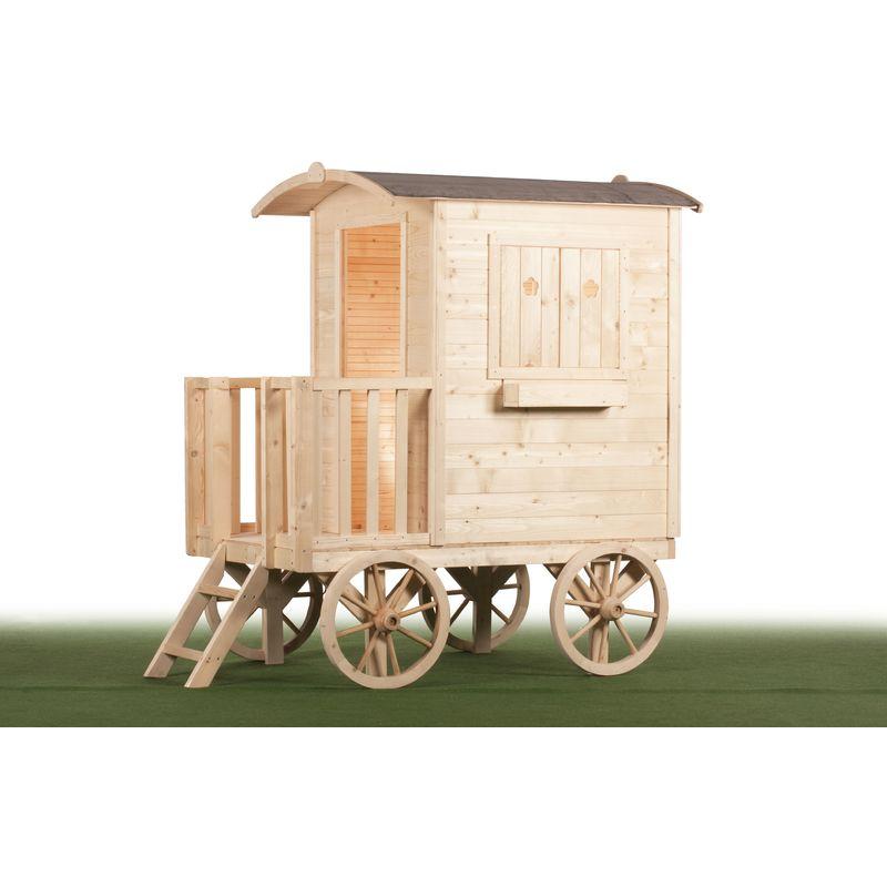 Maison roulotte pour enfant - Bois naturel - Tout inclus - ALOYA