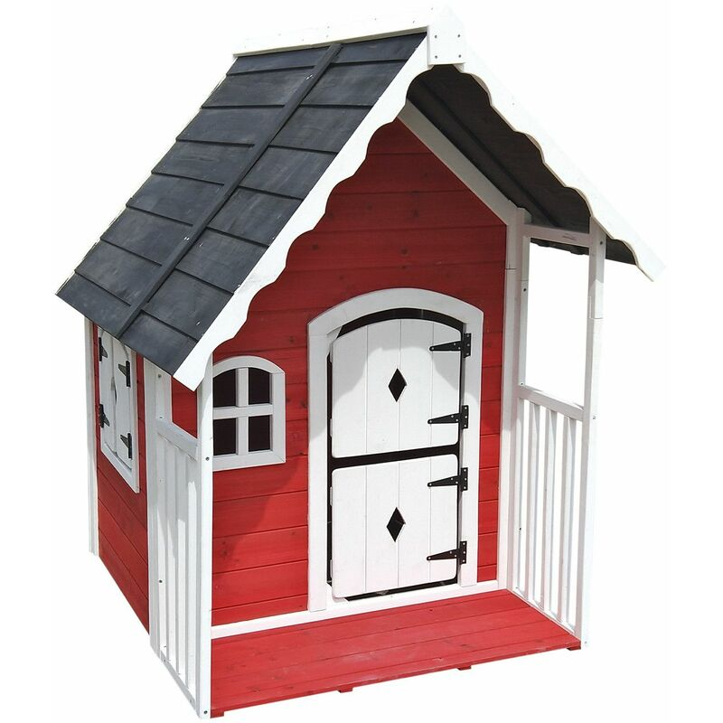 Outdoor Toys Maisonnette En Bois Anny - 120 cm x 130 cm x 140 cm - 1,56 M² Avec Garde-Corps
