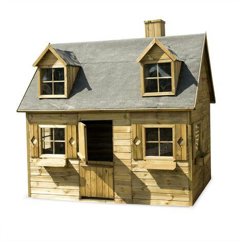 Maisonnette avec mezzanine en bois FSC de 3,88m², Coquelicot - cabane en pin autoclave
