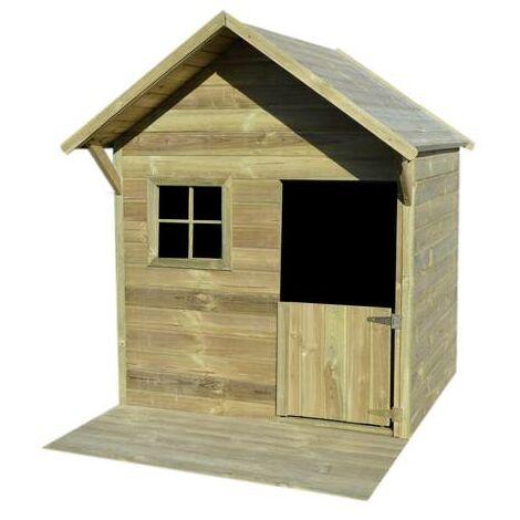 Maisonnette avec terasse JANE - bois - 2,15 m² - porte et fenêtre