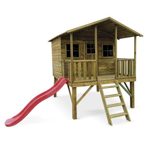 """main image of """"Maisonnette avec toboggan en bois de 4.5m². Pivoine - cabane sur pilotis en pin autoclave. terrasse"""""""