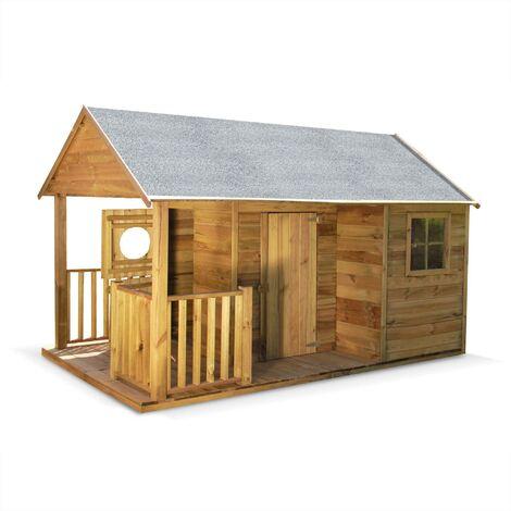 Maisonnette avec véranda en bois de 4,5 m², Rose - cabane en pin autoclave