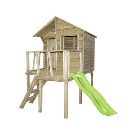 Maisonnette bois 1.96m² sur pilotis avec toboggan - VICTOR