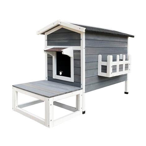 Maisonnette Chat Bois résistant 58 x 73.6 x 104.9 cm Pavillon Terrasse Porte arrière Cabane Abri
