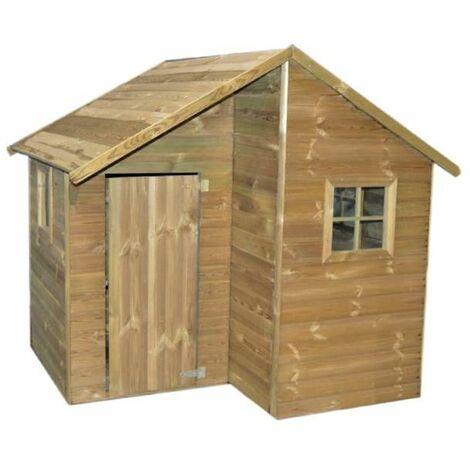 Maisonnette en bois LUCY - 1,96m² - porte, fenêtres et escalier