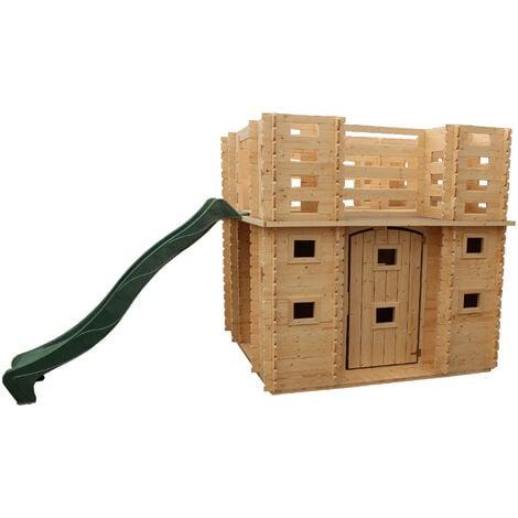 Maisonnette en Bois pour Enfants Outdoor Toys Lucca 423x194x193 cm avec Terrasse et Toboggan