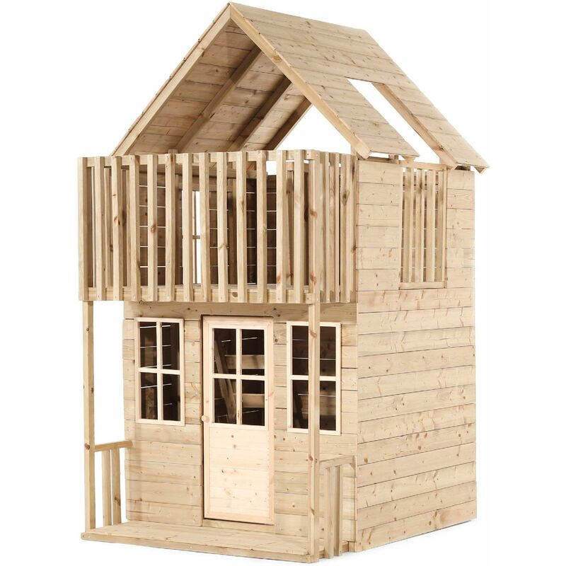 Tp Toys - Maisonnette enfant en bois 2 étages Loft - Naturel