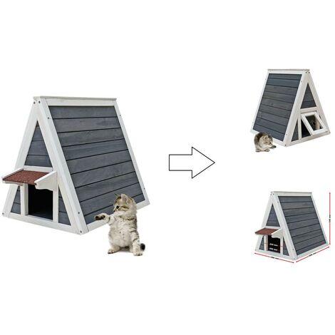 Maisonnette pour chat en bois avec 2 Accès - Hauteur 54 cm