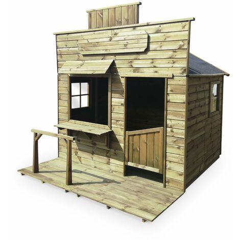 Maisonnette style saloon/western en bois FSC de 4,2m², Begonia - cabane pour enfants ranch en pin autoclave