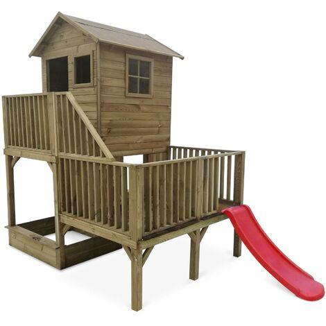 Maisonnette sur pilotis avec toboggan et bac à sable en bois FSC de 4 m², Bleuet - cabane sur pilotis