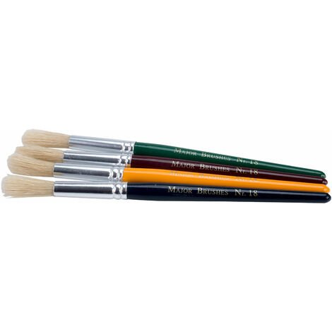 Major Brushes Children's Paint Brushes (Chunky), Set of 12 in 4 Colours