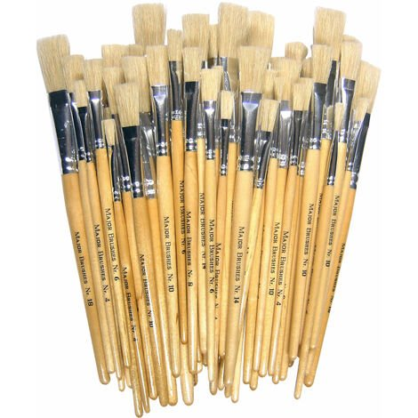 Major Brushes Hog Short Flat Assorted Pack 60 / 10 size 4, 6, 8, 10, 14, 18