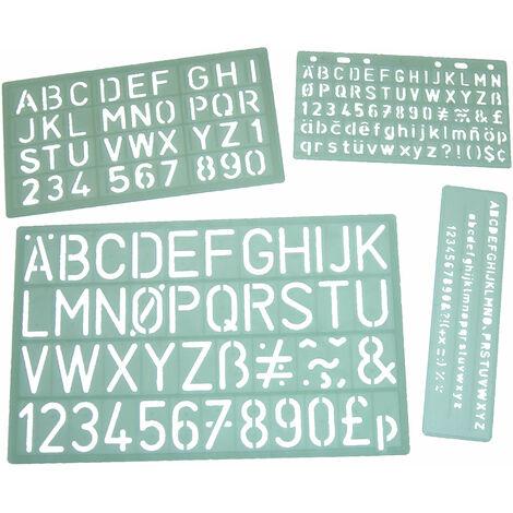 Major Brushes Lettering Stencil Set of 4