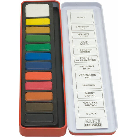 Major Brushes Watercolour Painting Tin - 12 Block