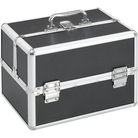 Make-up Case 22x30x21 cm Black Aluminium