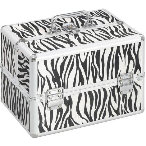 Make-up Case 22x30x21 cm Zebra Stripe Aluminium