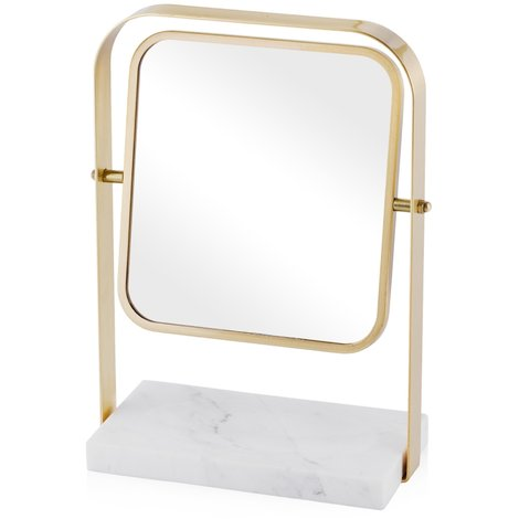 Make Up Mirror Marble with Gold AMOU