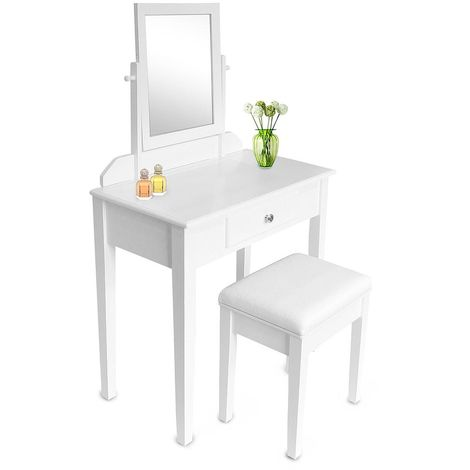 Make Up Table, Dressing Table, 1 drawer, 1 rectangle mirror, White, Material: MDF, Paulownia wood