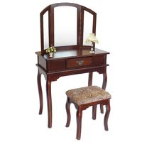Make Up Table, Dressing Table, 1 drawer, 3 mirrors, Brown, Material: Paulownia wood, MDF
