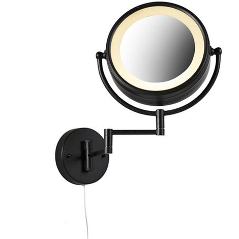 Make up wall mirror black with pull cord switch x2 - Vicino