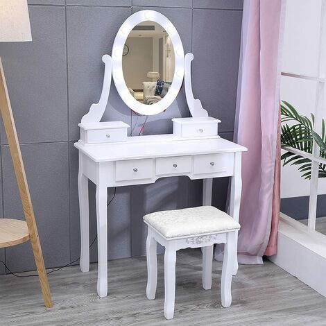 Makeup Dressing Table Stool with Light Mirrored Vanity Set 5 Drawers