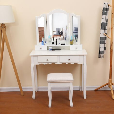 Makeup dressing table with 3 mirrors 4 drawers and stool
