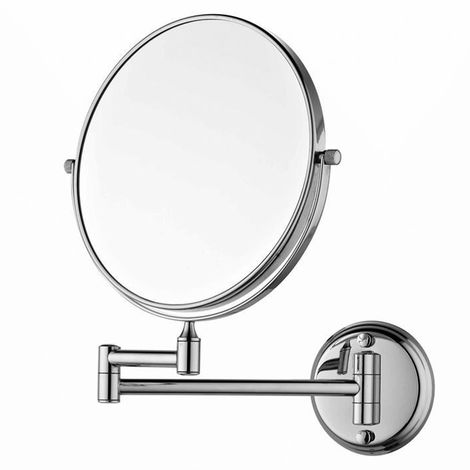 Makeup Mirror 8 Inch 3X Magnifying Make up Mirror Tabletop Wall Mounted Adjustable Silver , Wall-mounted