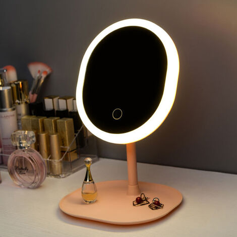 """main image of """"Makeup Mirror Square Base with Lamp Replenish Light Rechargeable Dormitory Desktop Mirror,model: 1 gear square base"""""""