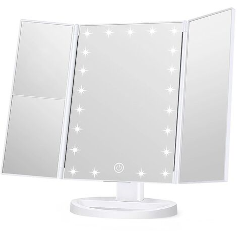 Makeup Mirror Vanity Mirror with Lights, 1x 2X 3X Magnification, Lighted Makeup Mirror, Touch Control, Trifold Makeup Mirror, Dual Power Supply, Portable LED Makeup Mirror, Women Gift