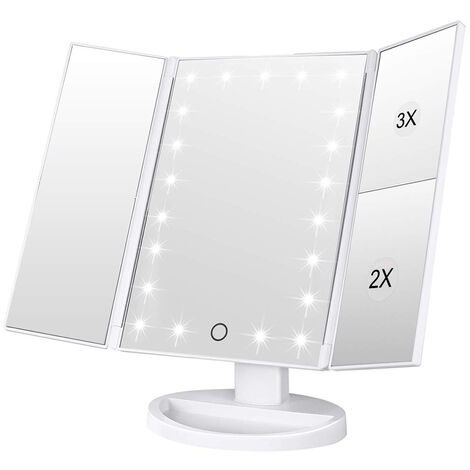 """main image of """"Makeup mirror with 22 lights LED vanity mirror with 2X / 3X magnification, touch screen, portable illuminated makeup mirror 180 degree rotation"""""""